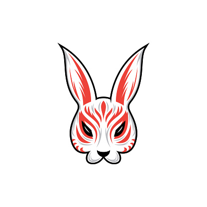 Kitsune Rabbit, bunny mask icon stock illustration, vector illustration Mask - Disguise, Japanese Culture, Kami, Demon - Fictional Character, Geisha