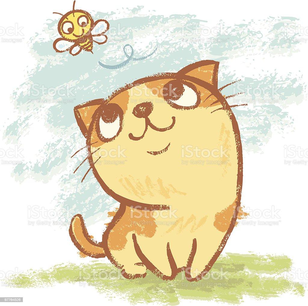 Kitten and bee vector art illustration