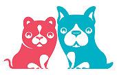 vector illustration of kitten and puppy symbol