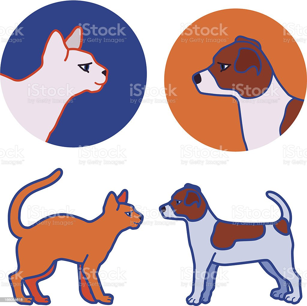 kitten and puppy royalty-free stock vector art