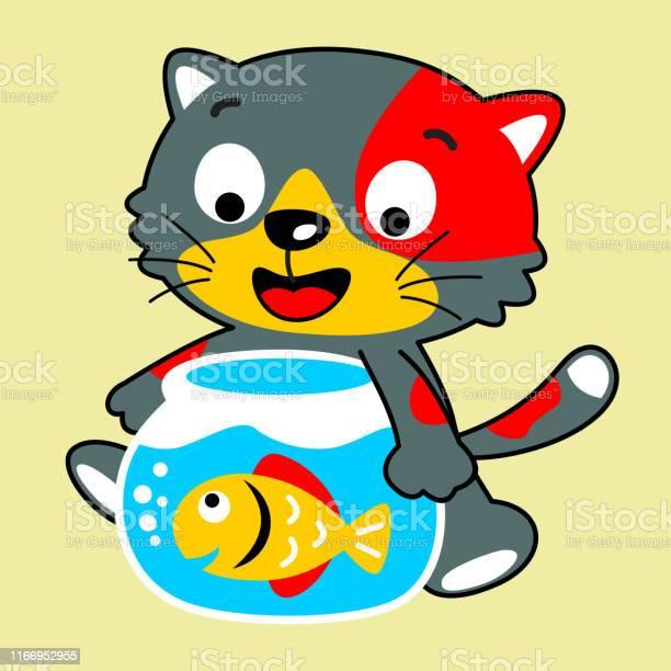 Kitten cartoon hugging an aquarium with a cute fish vector id1166952955?b=1&k=6&m=1166952955&s=612x612&h=lxaobhubv n786trtsgp vfz2xxigysuafl4tf7vhmg=