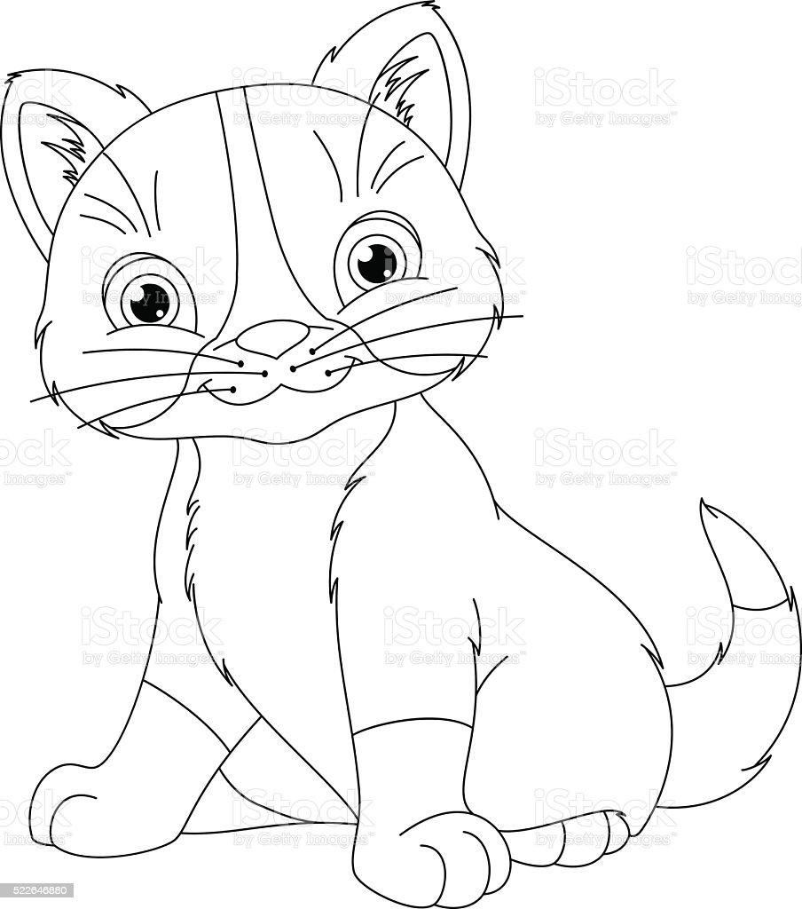 Kitten Coloring Page Stock Vector Art More Images Of Animal