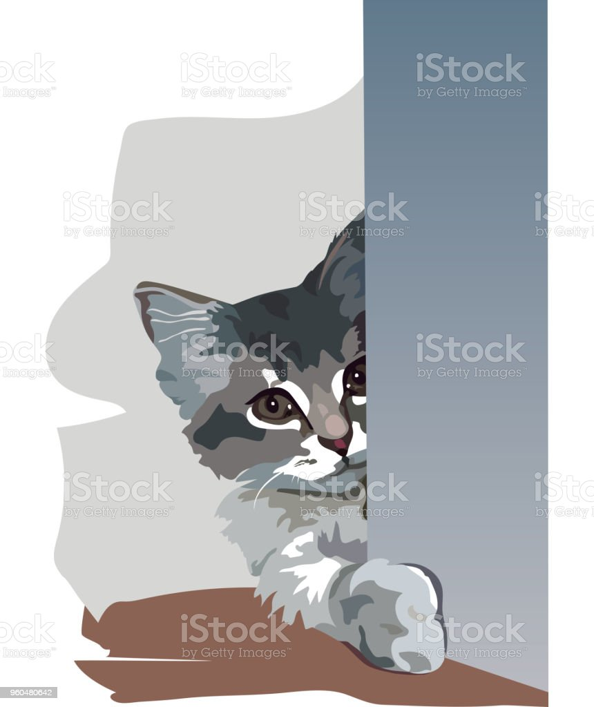 Kitten is in an ambush vector art illustration