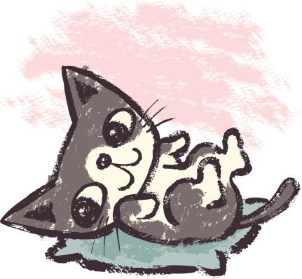 Kitten on cushion
