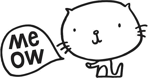 Kitten Heel-Skizze mit Miau Sprechblase – Vektorgrafik