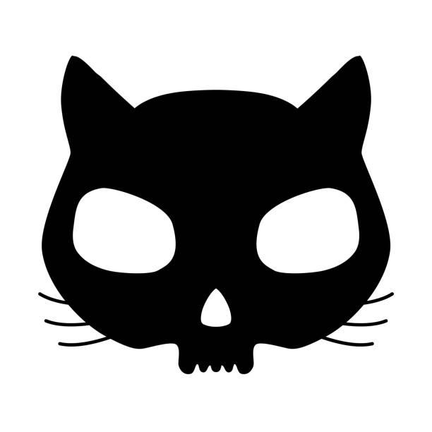Kitten skull Funny cat skull silhouette in black over white background. cat skeleton stock illustrations