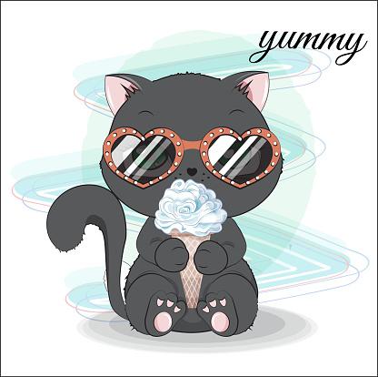 kitten with ice cream and sunglasses