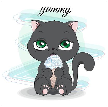 kitten with ice cream