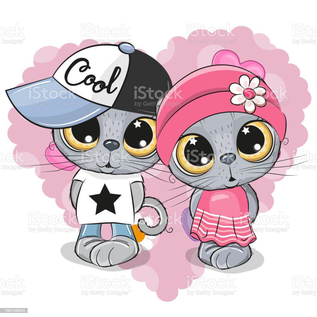 Kittens boy and girl on a heart background vector art illustration