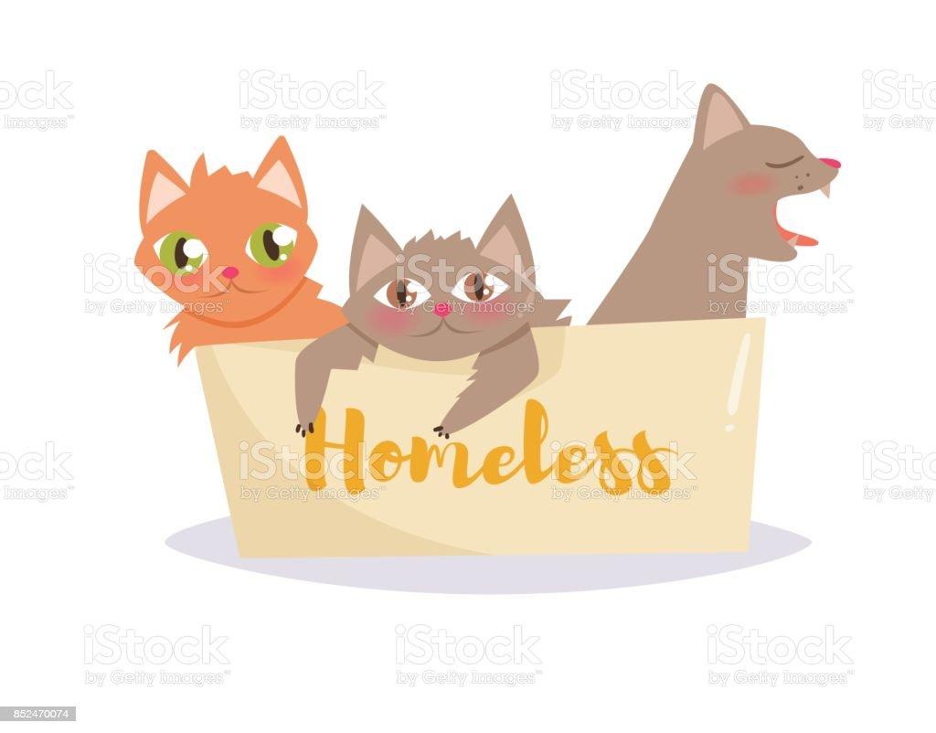 Kittens in a cardboard box. Vector. Cartoon vector art illustration