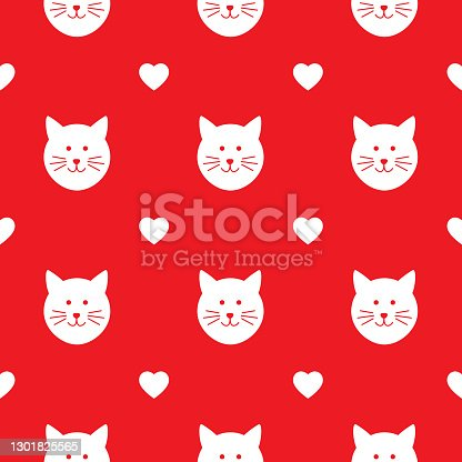 Kitty Faces And Hearts Seamless Pattern