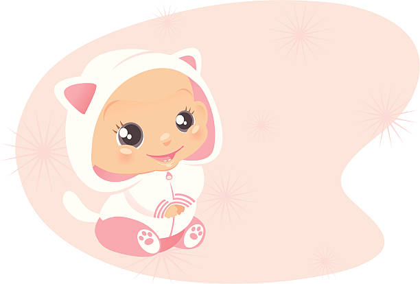Kitty Outfit A cute baby girl wearing a little hoodie jacket with kitty ears and a tail, and feety pants with kitty paws on the bottom. The background and baby are separate if only baby or background is desired. heyheydesigns stock illustrations