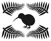 Kiwi and ferns, symbols of New Zealand illustration