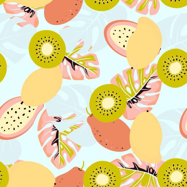 bildbanksillustrationer, clip art samt tecknat material och ikoner med kiwi och mango mönster - kivik