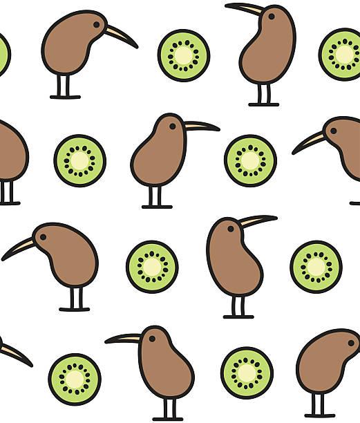 bildbanksillustrationer, clip art samt tecknat material och ikoner med kiwi bird and fruit pattern - kivik