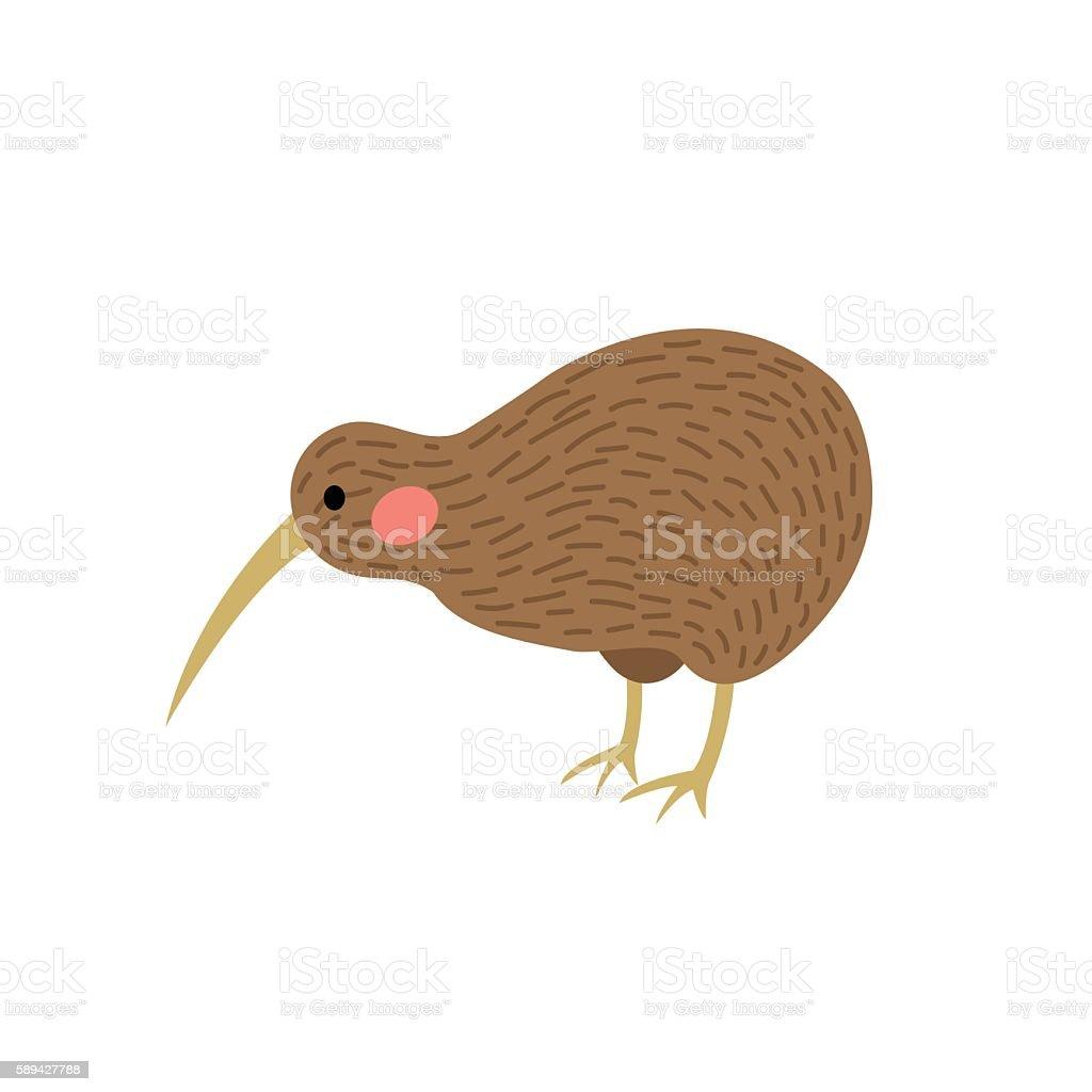 Kiwi bird animal cartoon character vector illustration. vector art illustration