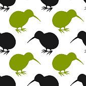 Kiwi bird seamless pattern. Vector illustration