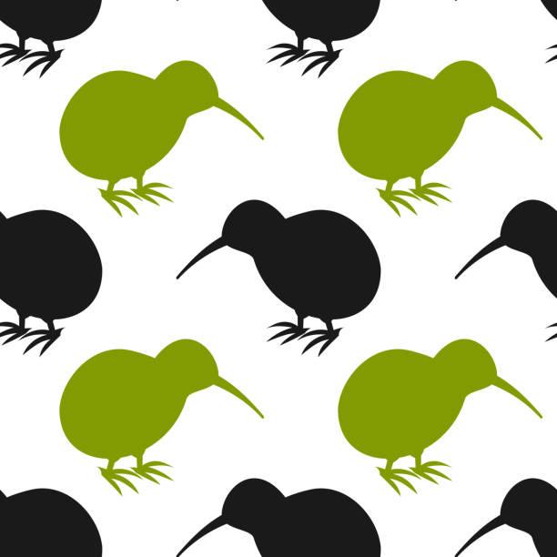 bildbanksillustrationer, clip art samt tecknat material och ikoner med kiwi fågel sömlösa mönster. - kivik