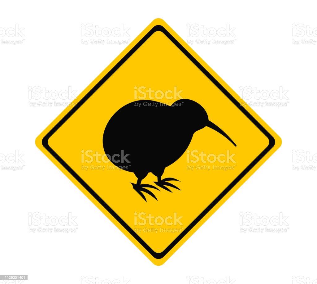 Sinal de estrada amarela de pássaro kiwi. - ilustração de arte em vetor