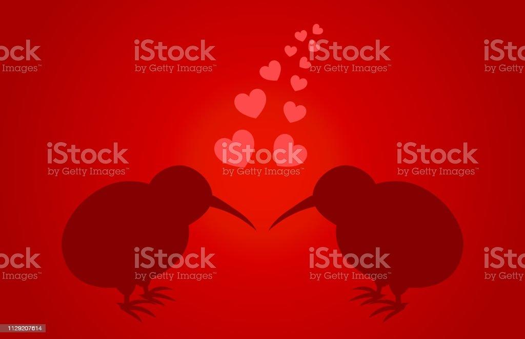 Casal de pássaros de quivi em cartão de amor. - ilustração de arte em vetor