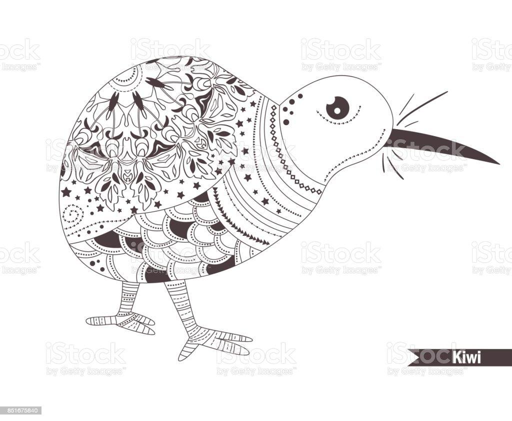 Kiwi Libro Para Colorear - Arte vectorial de stock y más imágenes de ...