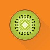 Kiwi flat design icon. Global colour used.