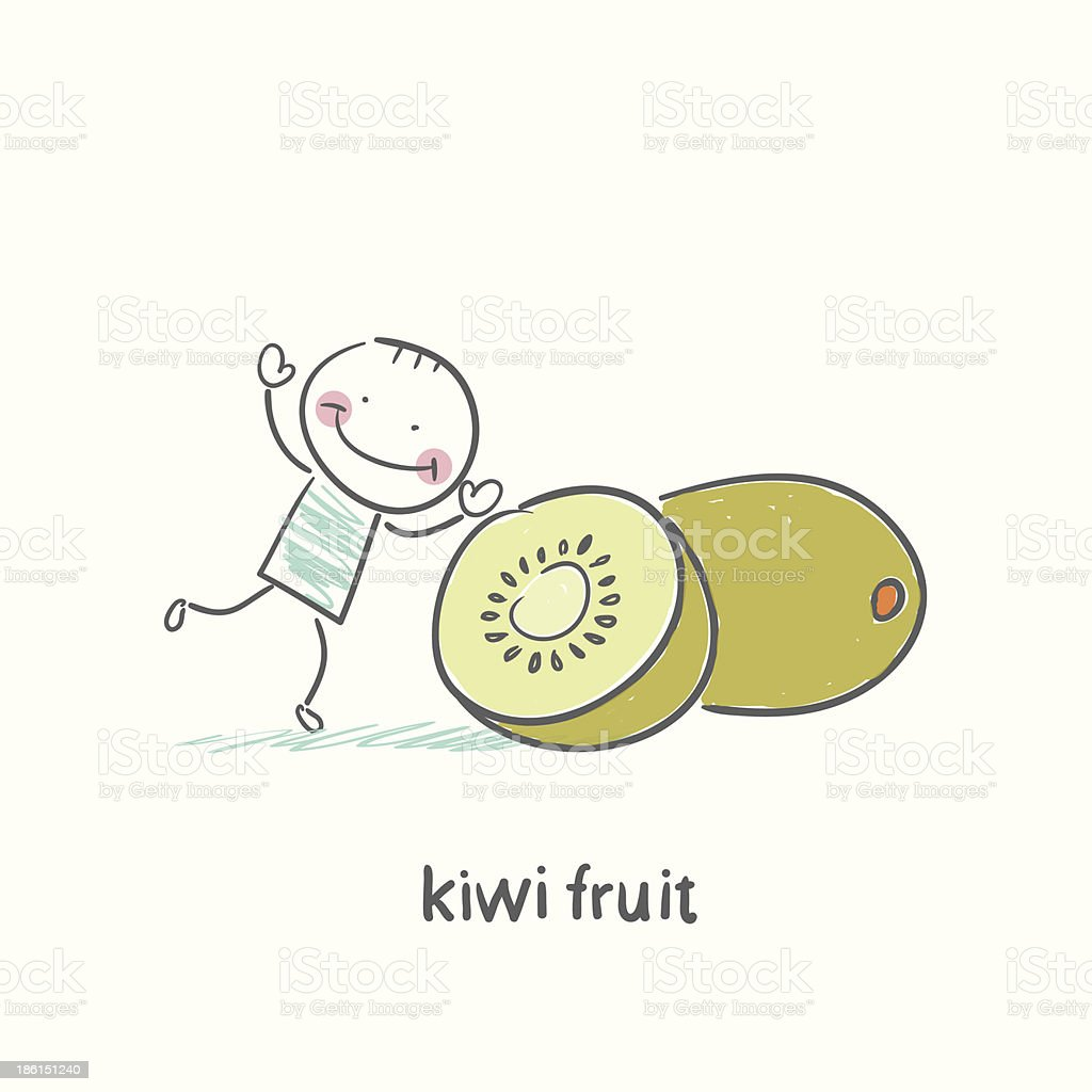 Kiwi fruit and a man royalty-free stock vector art