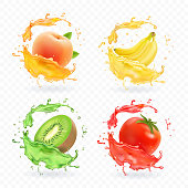 Kiwi fruit, banana, tomato, peach apricot juice. Realistic fresh splashes vector fruits icon set