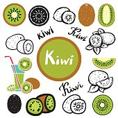 Kiwi fruits, leaves, glass of juice with drinking straw hand drawn set isolated on white background - vector artwork