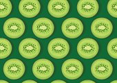 Kiwi fruit piece seamless pattern with shadow on emerald green background, Vector illustration