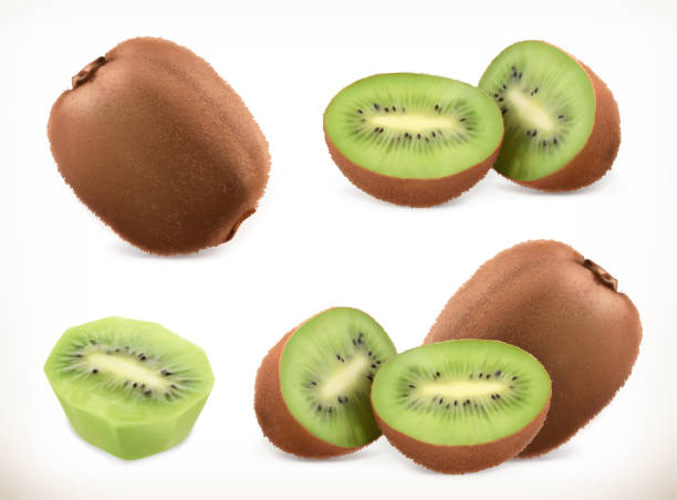 ilustrações de stock, clip art, desenhos animados e ícones de kiwi fruit. whole and pieces. sweet fruit. 3d vector icons set. realistic illustration - kiwi