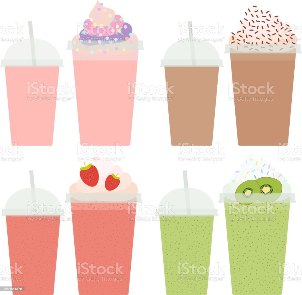Kiwi Strawberry Chocolate Coffee Take-out smoothie transparent plastic cup with straw and whipped cream. Isolated on white background. Vector vector art illustration