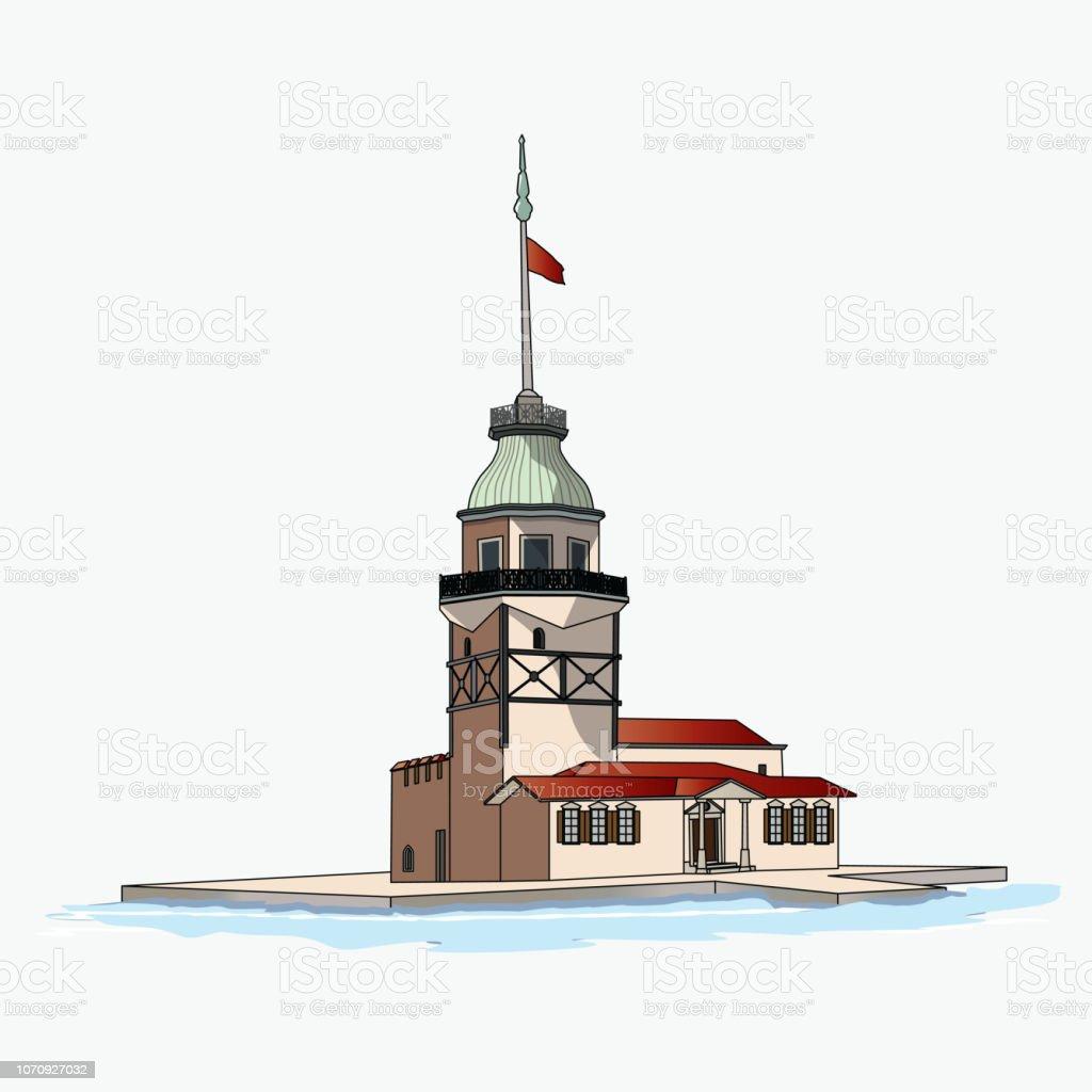 KizKulesi Maiden's tower vector art illustration