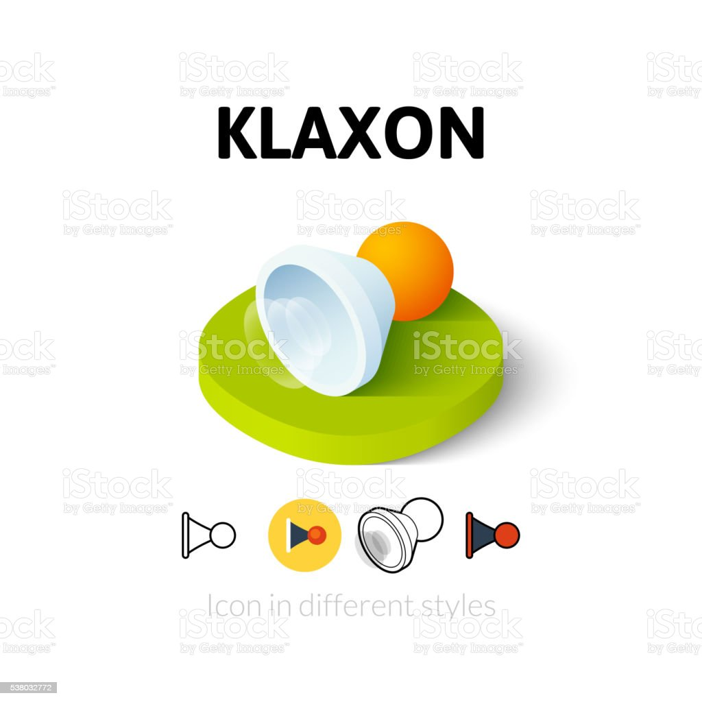 Klaxon icon in different style vector art illustration