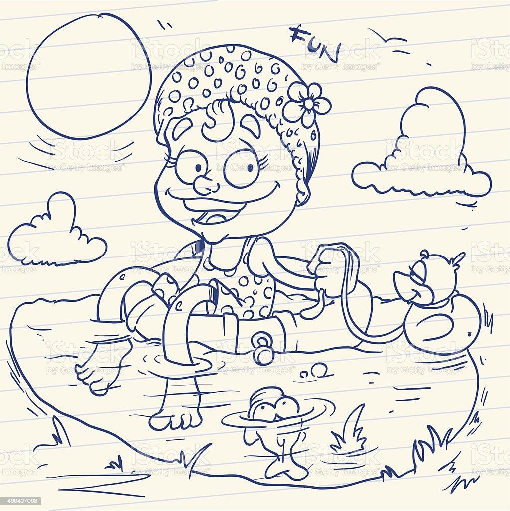 Kleines Mädchen im Schwimmreifen auf einem Badeteich vector art illustration
