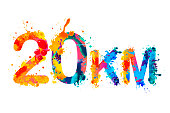 20 km. Long running distance. Splash paint sign