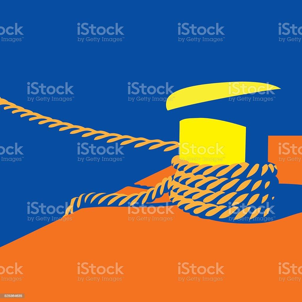 Knecht and mooring ropes vector art illustration