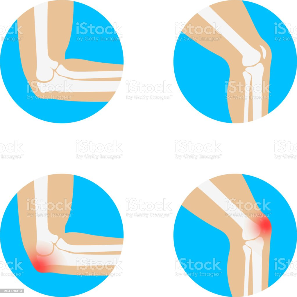 knee and elbow vector illustration. vector art illustration