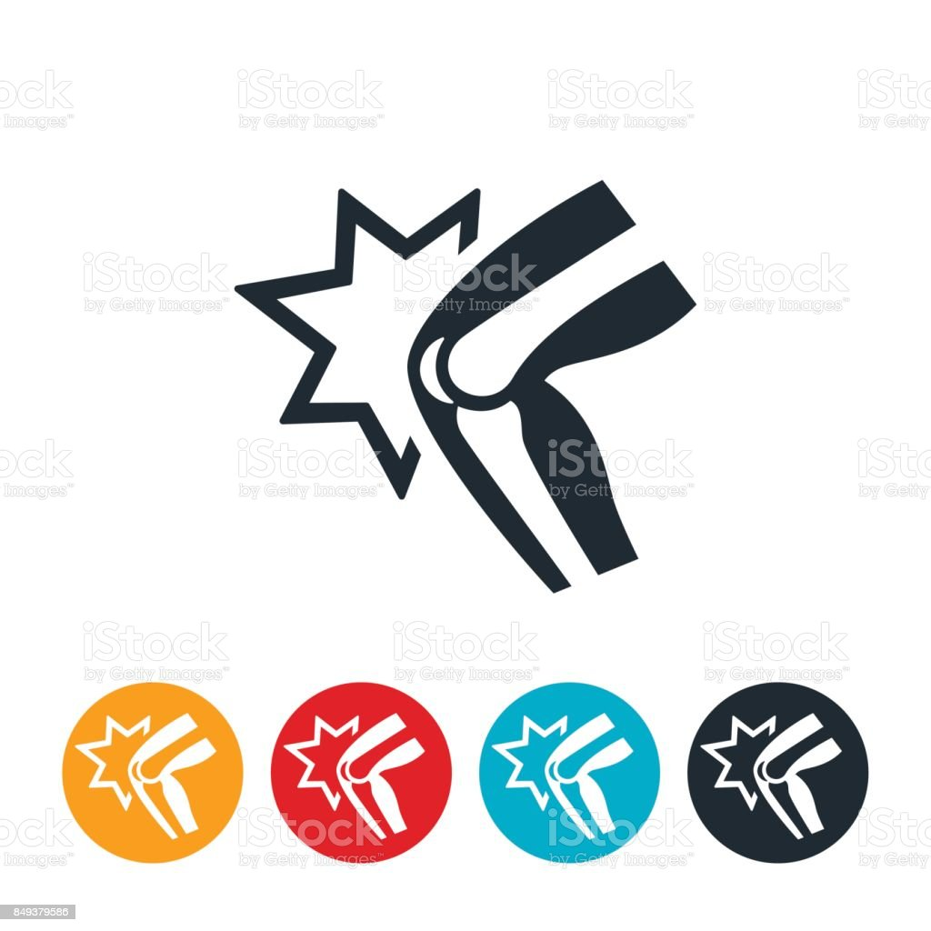 Knee Joint Pain Icon vector art illustration