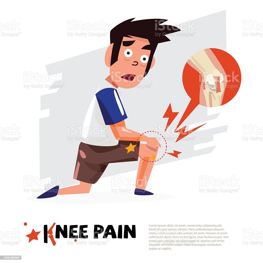 knee pain. character design with icon. - vector vector art illustration