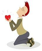 Kneeling man and heart symbol isolated illustration