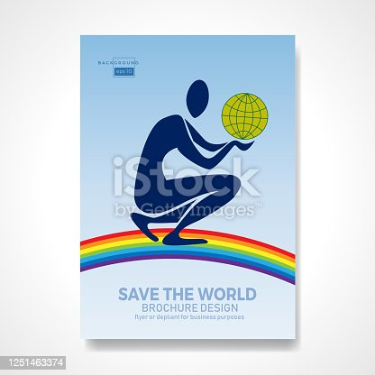 Kneeling man holding the earth over a rainbow in his hands. Retro vector background and illustration. Abstract design template for brochures, flyers, magazine, business card, book covers, poster.