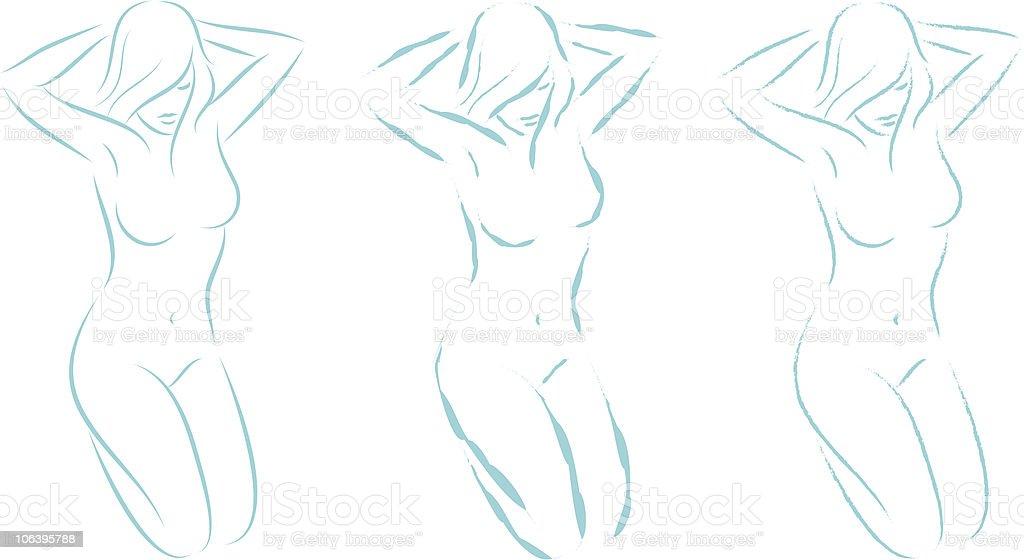 kneeling woman 04 vector art illustration