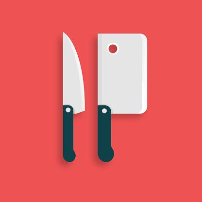 Knife and Chopping Knife Flat Icon. Flat Vector Illustration Symbol Design Element