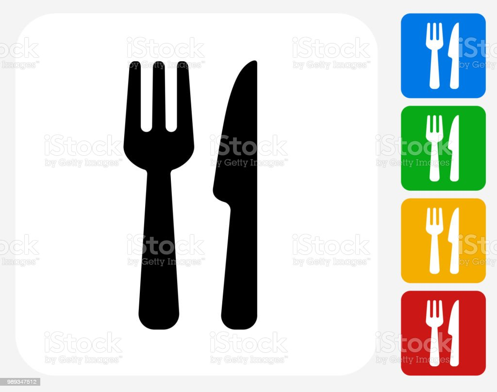 Knife and Fork Icon vector art illustration