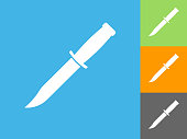 Knife  Flat Icon on Blue Background. The icon is depicted on Blue Background. There are three more background color variations included in this file. The icon is rendered in white color and the background is blue.