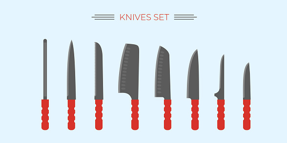 Knife for kitchen and outdoor cooking. Set, kit. Popular knives for chef, cutting, cooking.