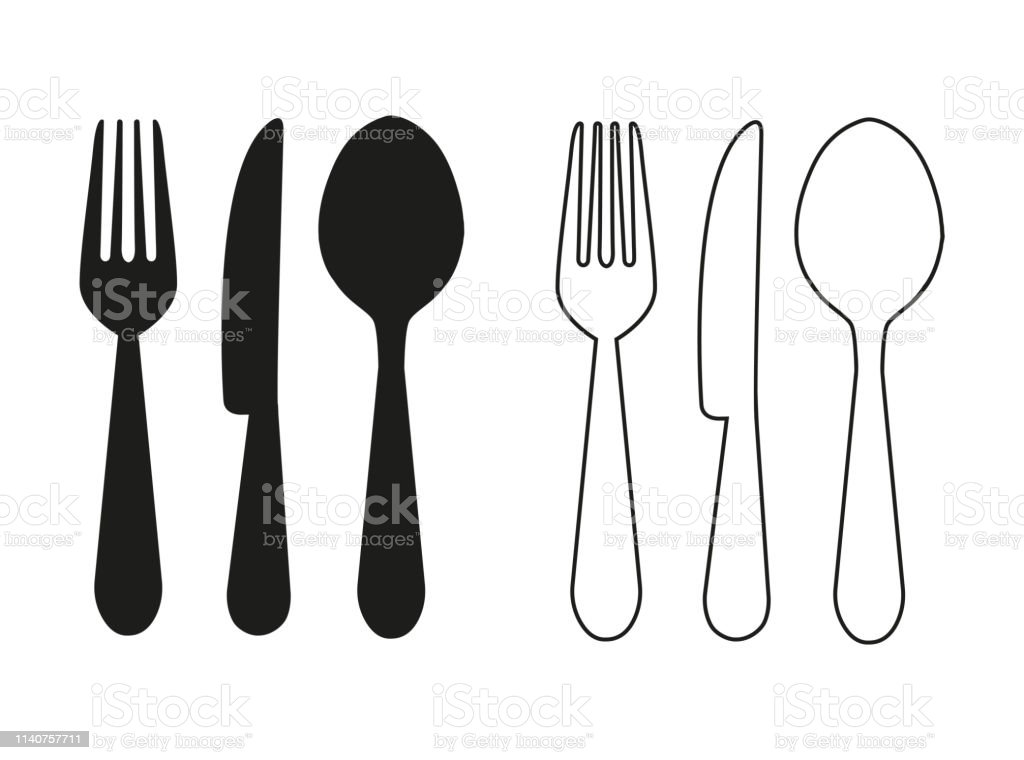 Knife Fork And Spoon Lets Cook Labels And Logo Elements