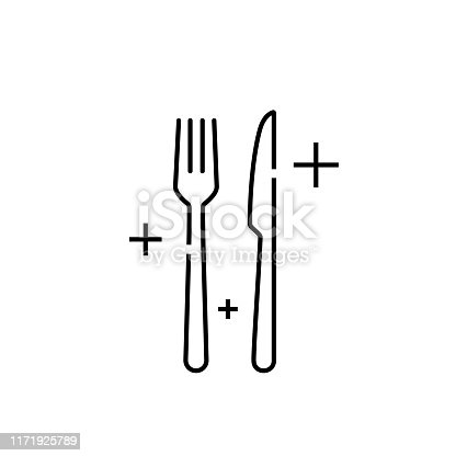 istock Knife fork line icon 1171925789