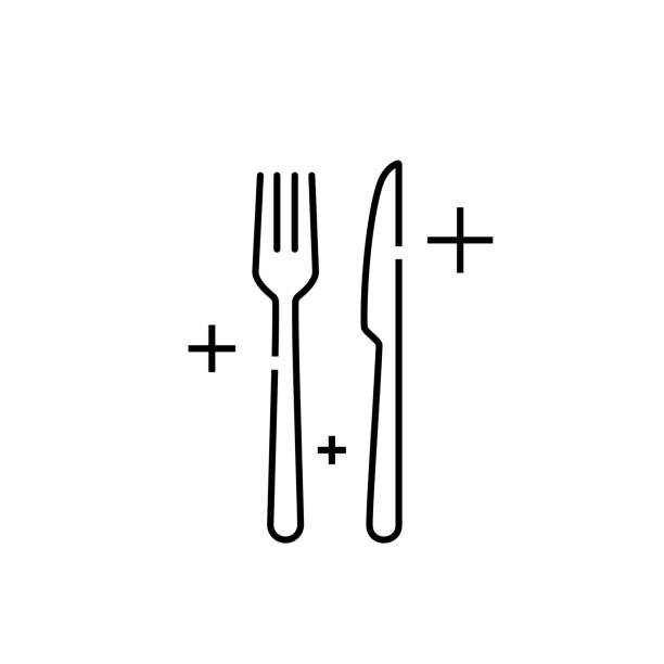 Knife fork line icon Knife fork icon. Cutlery symbol. Meal sign. Eat utensil graphic. Vector illustration line icon. fork stock illustrations